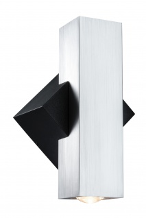 Paulmann 180.05 ABL Set 2Flame LED 2x3, 2W 230V IP44 eckig Schwarz/Alu gebürstest Alu