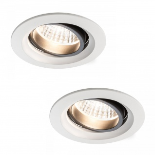 Paulmann Premium Einbauleuchte Set Daz schwenkbar LED 2x7W 18VA 230V/700mA 110mm Weiß matt/Alu