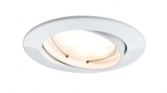 Paulmann Premium Einbauleuchte Set Coin satiniert rund schwenkbar LED 3x6, 8W 2700K 230V 51mm Weiß matt/Alu Zink