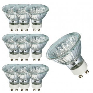 10 x 4102.10 Nice Price GU10 Fassung NP LED Reflektor 24° 1W 230V 51mm Warmweiß