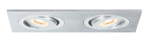 Paulmann 925.37 Premium Einbauleuchte Set Drilled AluDuoLED schwenkbar 1x(2x3W) 9VA 120x60mm Alu gebürstet/Al ged.