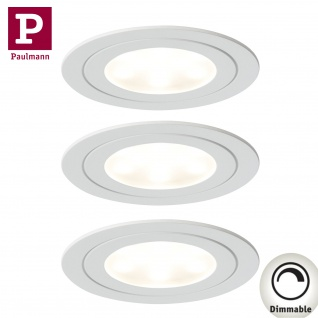 Paulmann 935.69 Möbel Einbauleuchte Set Circuit LED rund 3x5, 6W 17, 5VA 230V/350mA 85mm Weiß matt/Metall