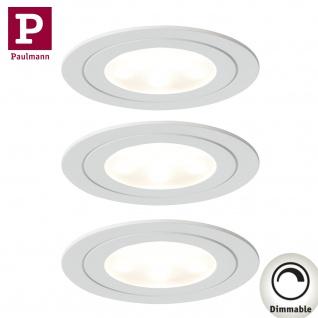 Paulmann Möbel Einbauleuchte Set Circuit LED rund 3x5, 6W 17, 5VA 230V/350mA 85mm Weiß matt/Metall