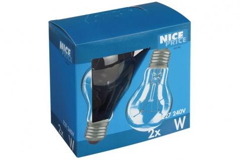 3802 Nice Price E27 Fassung NP AGL 2er Pack 2x40W E27 Klar