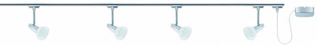 968.74 Paulmann U-Rail Set URail System Set Barelli 4x40W GZ10 Chrom/Opal 230V Metall/Glas