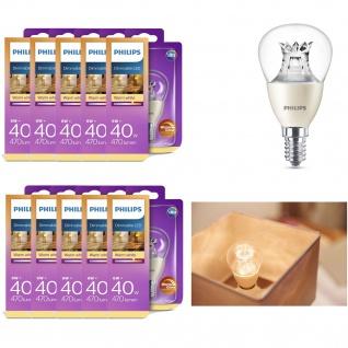 10x Philips 8718696453568 dimmbares Leuchtmittel in Tropfenform mit Drehsockel, 6W (40W), E14, warmweiß