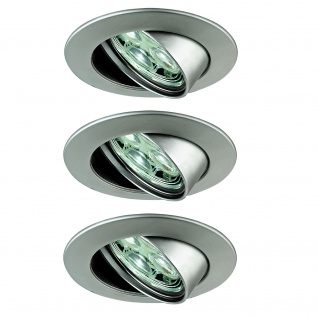 Paulmann Premium Einbauleuchte Set Power Flood LED 3x3W 10VA 230V 83mm Chrom matt/Alu Zink