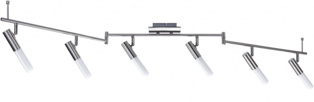 Paulmann 665.82 Spotlights Phorus Balken 6x10W E14 Röhrenlp. Nickel gebürstet/Opal 230V Metall