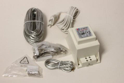 Sicherheits Trafo 60VA 12V 50HZ 230V inkl Seil Montage-Set 10meter für LED geeignet AC/DC