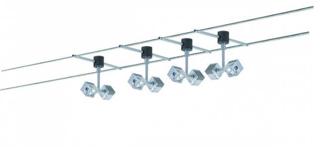 978.66 Paulmann Seil Komplett Set Wire System GEO Q-DK 4x(2x3W) 12m Chrom matt 230/12V 60VA Metall