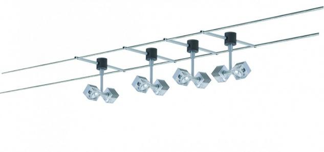Paulmann Wire System GEO Q-DK 4x(2x3W) 12m Chrom matt 230/12V 60VA Metall