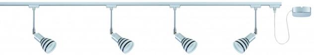968.78 Paulmann U-Rail Set URail System Set Titurel 4x40W G9 Chrom Opal/Schwarz 230V Metall/Glas