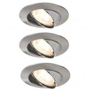 Paulmann 925.33 Premium Einbauleuchte Set schwenkbar LED 3x4W 3000K 230V GU10 51mm Eisen gebürstet/Alu Zink