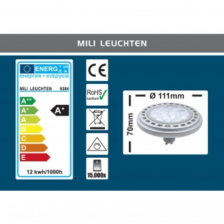 MILI Qpar111 LED dimmbar Leuchtmittel 12W GU10 4000K Neutralweiss 230V 900lm Silber 45° Reflektor 111mm Durchmesser - ersetzt 90W Halogen - Vorschau 3