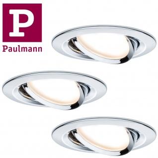 Paulmann Premium Einbauleuchte Set Coin Slim rund schwenkbar LED 3x6, 8W 2700K 230V 51mm Chrom/Alu