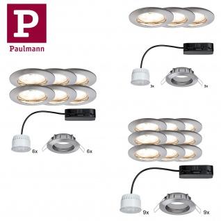 Paulmann Premium Einbauleuchte Set Coin klar rund starr LED 3/6/9x6, 8W 2700K 230V 51mm Eisen gebürstet/Alu Zink