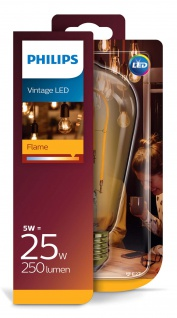 Philips 8718696743058 E27 Vintage LED Leuchtmittel 5W (25W) 2000k Flame 250Lm