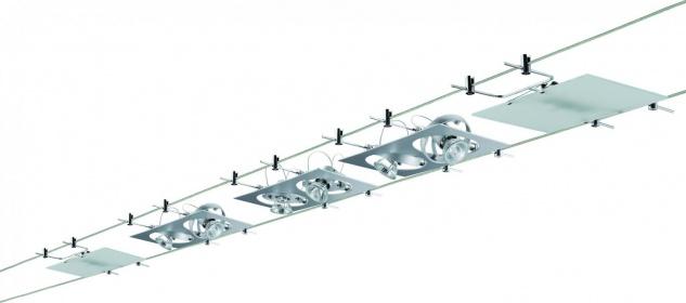 Paulmann Wire System Outline 5x(2x20)W GU4/G4 Chrom matt 230/12V 210VA Metall/Glas