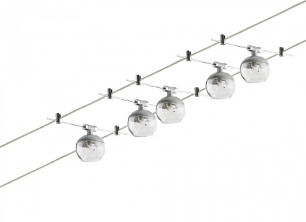 940.65 Paulmann Seil Komplett Set Wire System Globe 5x20W GU4 Chrom 230/12V 105VA Metall/Glas