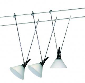 3666 Nice Price Seil Komplett Set Nice Price Wire System 3x20W G4 Chrom/Satin 230/12V 60VA Metall/Glas