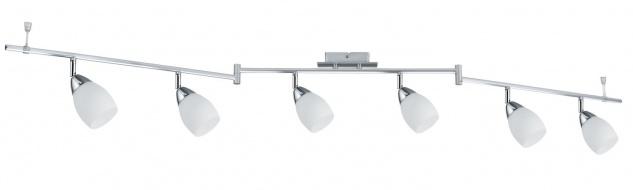 66685.LED Spotlight WolbalLED 6x4W LED GU10 Chrom matt/Opal 230V Metall/Glas