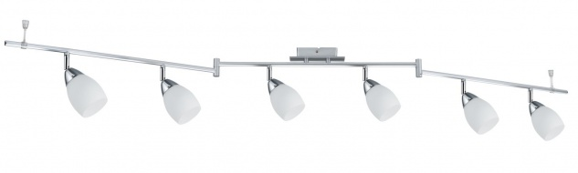 Paulmann 666.85.LED Leuchten Spotlight WolbalLED 6x4W LED GU10 Chrom matt/Opal 230V Metall/Glas