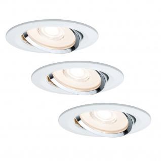 Paulmann Premium Einbauleuchte Set Reflector Coin rund schwenkbar dimmbar LED 3x6, 8W 230V Weiß Chrom/Alu