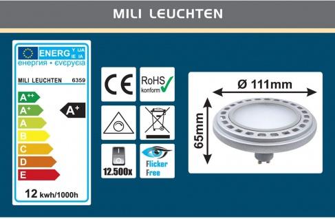 MILI Qpar111 LED Leuchtmittel 12W GU10 4000K neutralweiß 230V 900lm Silber 120° Abstrahlwinkel Raumlicht dimmbar - ersetzt 90W Halogen - Vorschau 3