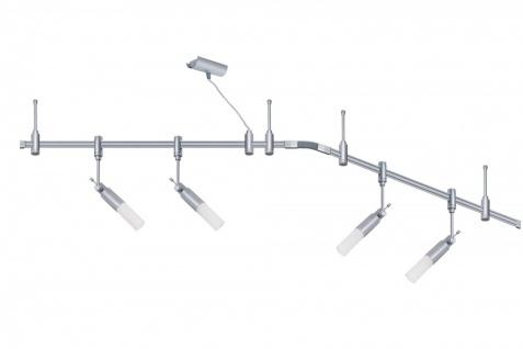 973.59 Paulmann Phantom Set Rail System Phantom Set Pharus 4x9W E14 Decopipe Titan/Opal 230V Metall/Kunststoff