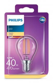 Philips 8718696587317 E14 LED Classic Leuchtmittel 4, 3W 470lm Kugel Warmweiß