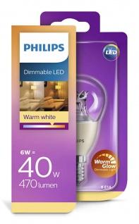 Philips 929001140658 E14 LED Tropfenform dimmbar Leuchtmittel 6W ~ 40W
