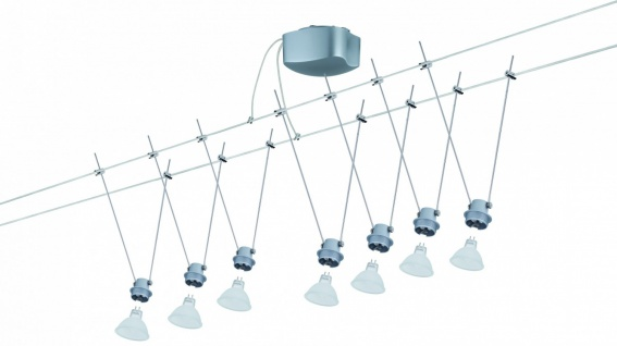 940.02 Paulmann Seil Komplett Set Wire DecoSystems Basis 150 7x20W GU5, 3 Chrom matt 230/12V 150VA Metall