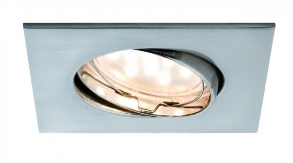 Paulmann Premium Einbauleuchte Set Coin klar eckig schwenkbar LED 1x6, 8W 2700K 230V 51mm Eisen gebürstet/Alu Zink