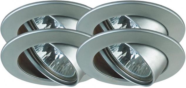 Paulmann Premium Einbauleuchte Set schwenkbar 4x35W 150VA 230/12V GU5, 3 51mm Chrom matt/Alu Zink