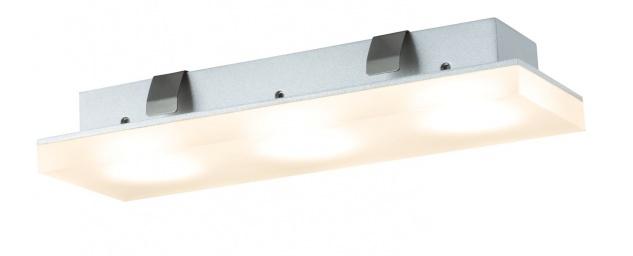 Paulmann Möbel Einbauleuchte Set Fleecy LED eckig 3x3, 6W 2700K 9VA 230/12V 150x50mm satiniert/Acryl