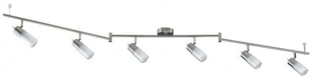 600.84.LED Paulmann Deckenleuchten Spotlights Zygla Stange 6x4W GU10 LED 230V Eisen gebürstet Metall/Glas
