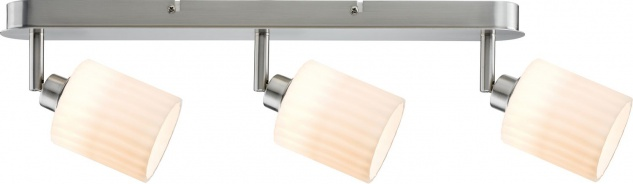 Paulmann 601.40 Spotlights Zylino Balken 3x3W Eisen gebürstet/Weiß 230V Metall/Glas
