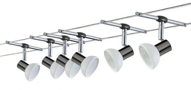 975.36 Paulmann Seil Komplett Set Wire System Sheela 210 6x35W GU5, 3 Schwarzchrom/Opal 230/12V 210VA Metall/Glas