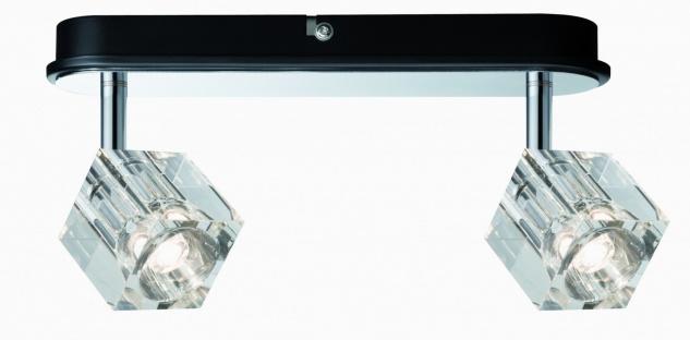 601.67 Paulmann Deckenleuchten Spotlights IceCube LED Balken 2x3W Chrom 230V Metall/Glas