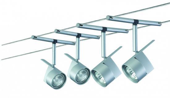 974.87 Paulmann Seil Komplett Set Wire System EasyPower 210 4x50W GU5, 3 Chrom matt 230/12V 210VA Metall
