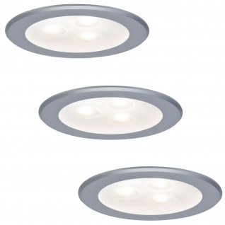 Paulmann Möbel Einbauleuchte Set high power LED 3x3W 3000K 9VA 230V/350mA 76mm Chrom matt