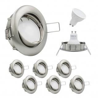 LED Einbaustrahler schwenkbar inkl. 6 x 3W Leuchtmittel 230V GU10 LED Deckenstrahler Deckenspots Deckenleuchte warmweiss LED Einbauleuchte Einbauspots