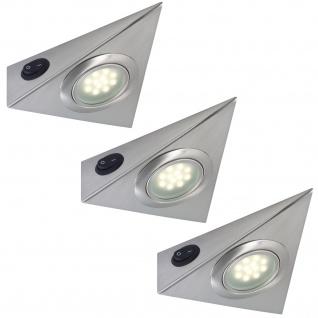 Paulmann Möbel Aufbauleuchte Set 3eck. LED 3x1W 12VA 230/12V Eisen gebürstet Metall/Glas