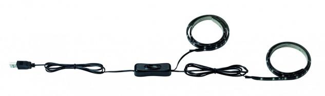 Function USB-Strip 2x50cm Warmweiß 2W 5V Schwarz Metall/Kunststoff