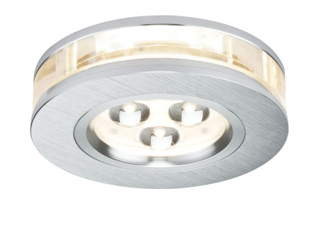 Paulmann Premium Einbauleuchte Set Liro rund LED 3x3W 350mA 9VA 90mm Alu gebürstet/Klar