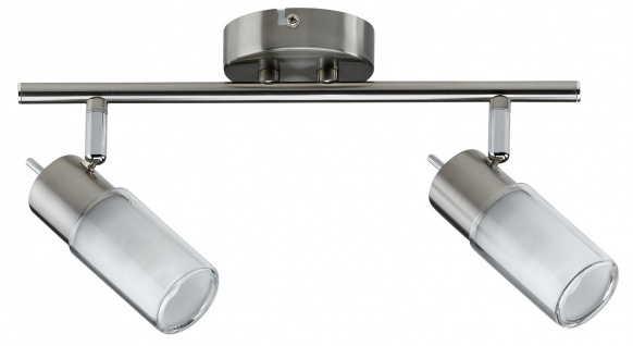 Paulmann Deckenleuchten 60081.LED Spotlights Zygla Balken 2x4W GU10 LED 230V Eisen gebürstet Metall/Glas