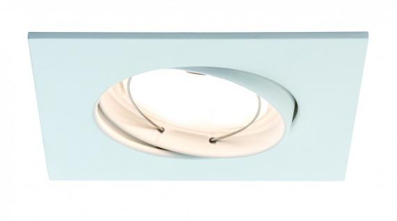 Paulmann Premium Einbauleuchte Set Coin dimmbar satiniert eckig schwenkbar LED 1x7W 2700K 230V 51mm Weiß matt/Alu Zink