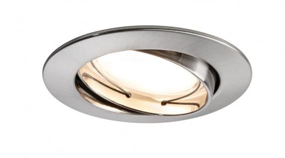 Paulmann 927.78 Premium Einbauleuchte Set Coin satiniert rund schwenkbar LED 3x6, 8W 2700K 230V 51mm Eisen gebürstet/Alu Zink