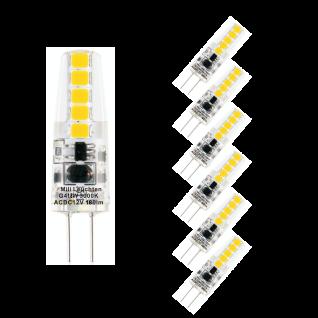 6er Set LED Leuchtmittel 1, 8W G4 3000K Warmweiss 12V 180lm Klar
