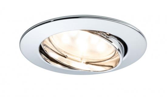 Paulmann 927.69 Premium Einbauleuchte Set Coin klar rund schwenkbar LED 1x6, 8W 2700K 230V 51mm Chrom/Alu Zink